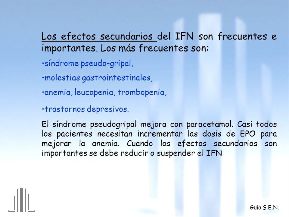 Los efectos secundarios del IFN son frecuentes e importantes