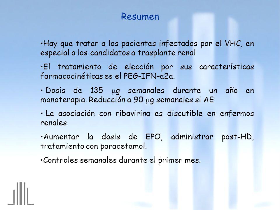 Resumen Hay que tratar a los pacientes infectados por el VHC, en especial a los candidatos a trasplante renal.