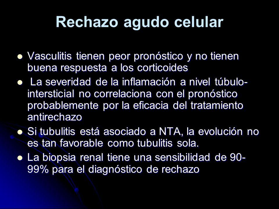Rechazo agudo celular Vasculitis tienen peor pronóstico y no tienen buena respuesta a los corticoides.