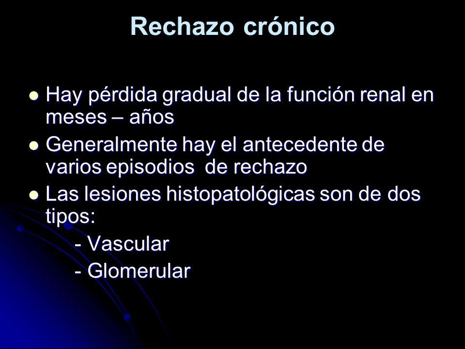 Rechazo crónico Hay pérdida gradual de la función renal en meses – años. Generalmente hay el antecedente de varios episodios de rechazo.