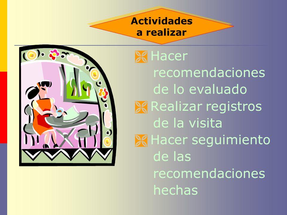 Hacer recomendaciones de lo evaluado Realizar registros de la visita
