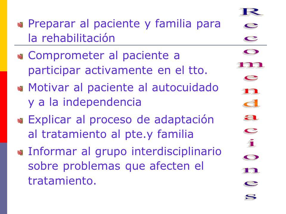 Recomendaciones Preparar al paciente y familia para la rehabilitación