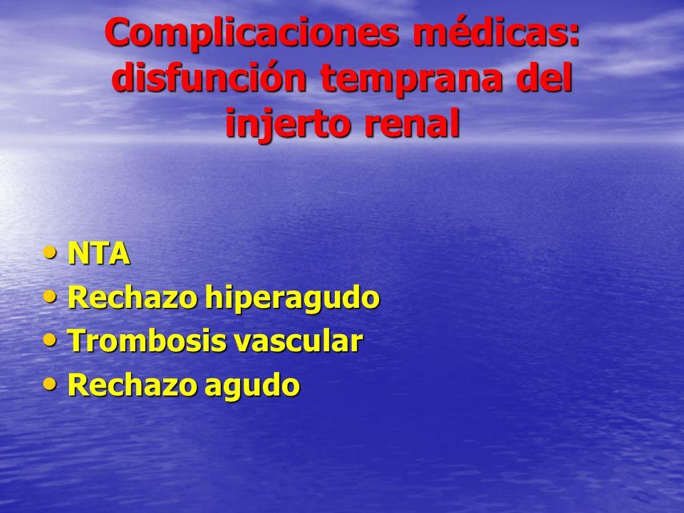 Complicaciones médicas: disfunción temprana del injerto renal