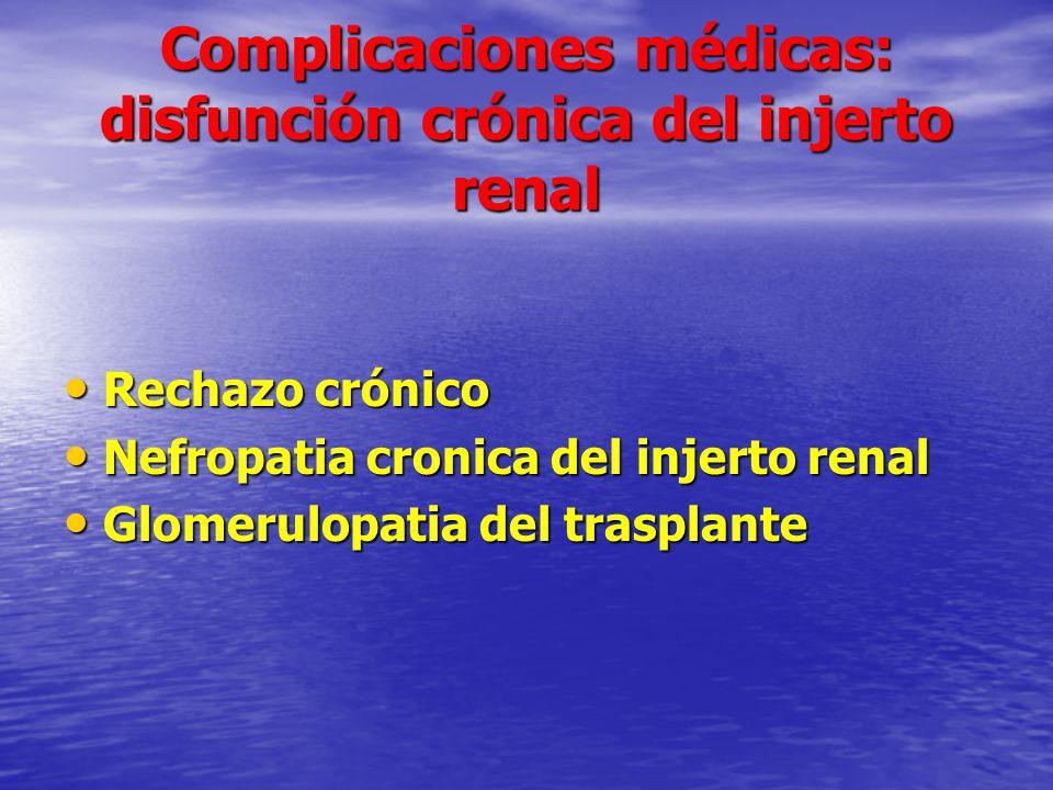 Complicaciones médicas: disfunción crónica del injerto renal