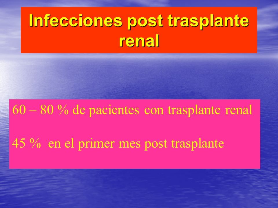 Infecciones post trasplante renal