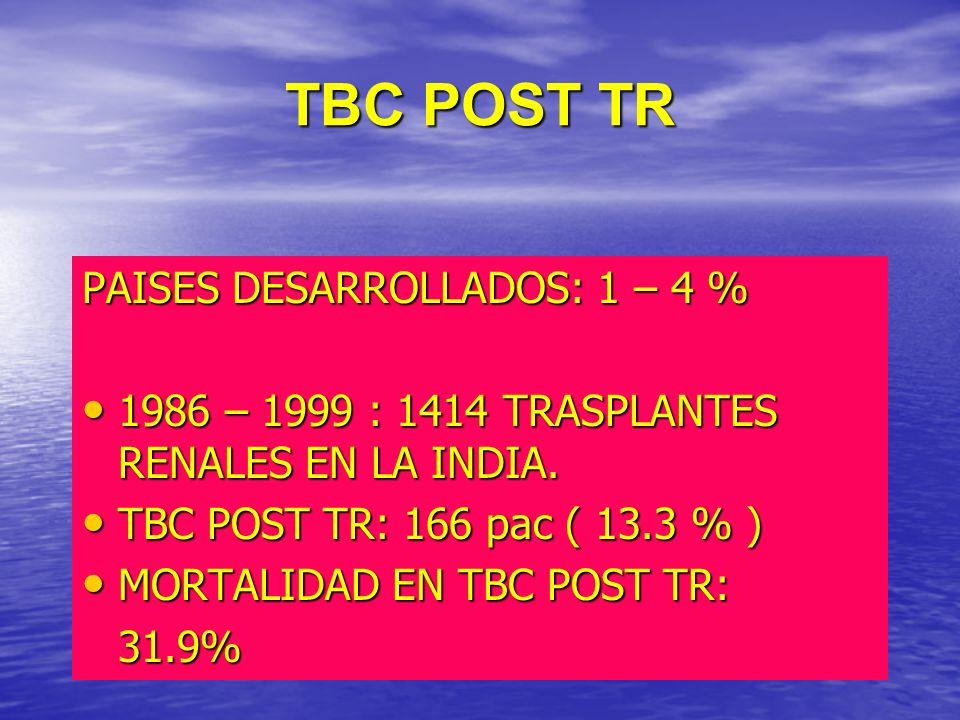 TBC POST TR PAISES DESARROLLADOS: 1 – 4 %