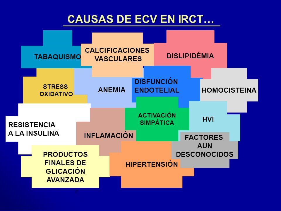CAUSAS DE ECV EN IRCT… CALCIFICACIONES DISLIPIDÉMIA VASCULARES