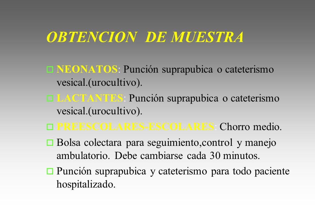 OBTENCION DE MUESTRA NEONATOS: Punción suprapubica o cateterismo vesical.(urocultivo).