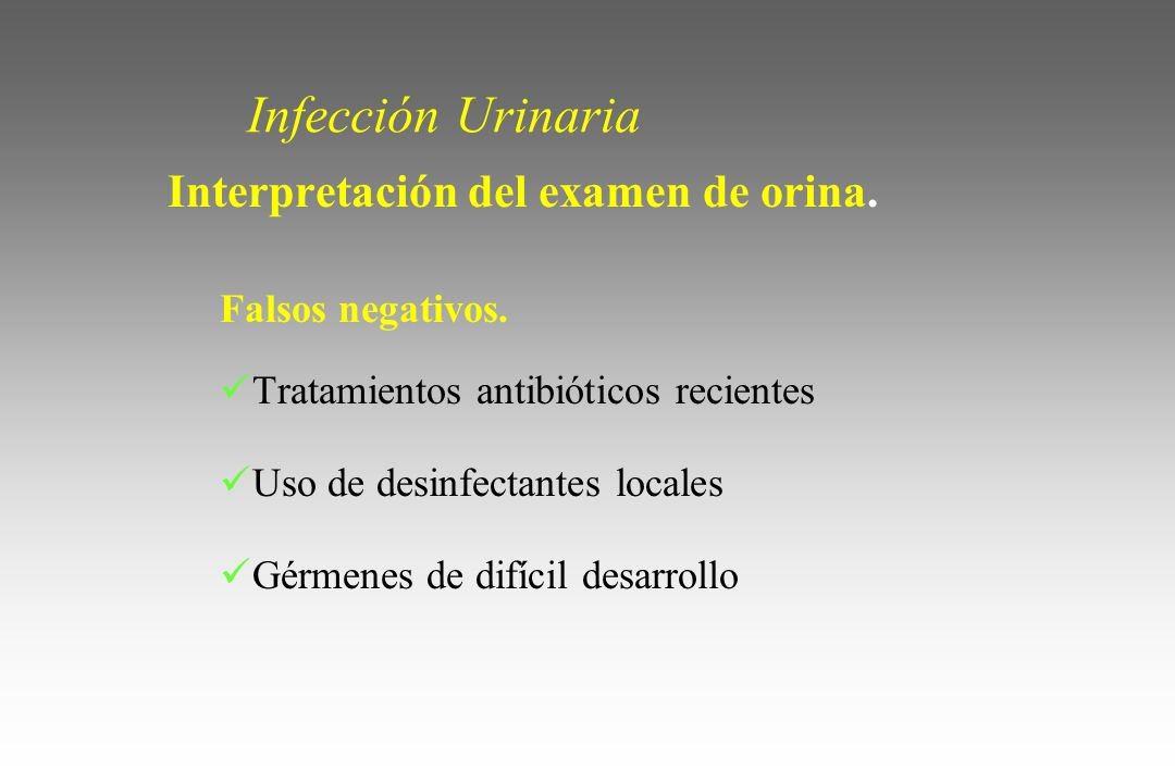 Infección Urinaria Interpretación del examen de orina.