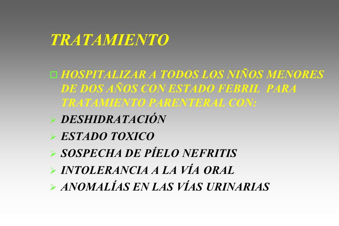 TRATAMIENTO HOSPITALIZAR A TODOS LOS NIÑOS MENORES DE DOS AÑOS CON ESTADO FEBRIL PARA TRATAMIENTO PARENTERAL CON: