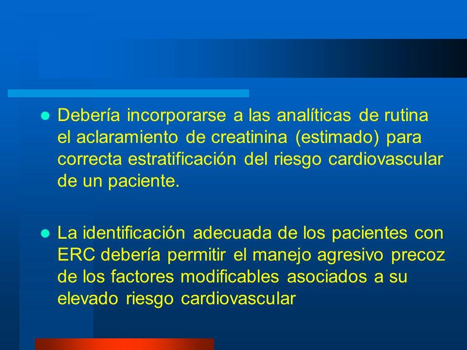 Debería incorporarse a las analíticas de rutina el aclaramiento de creatinina (estimado) para correcta estratificación del riesgo cardiovascular de un paciente.