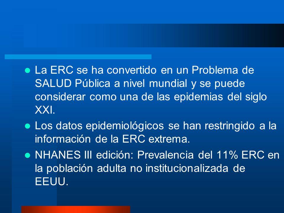 La ERC se ha convertido en un Problema de SALUD Pública a nivel mundial y se puede considerar como una de las epidemias del siglo XXI.