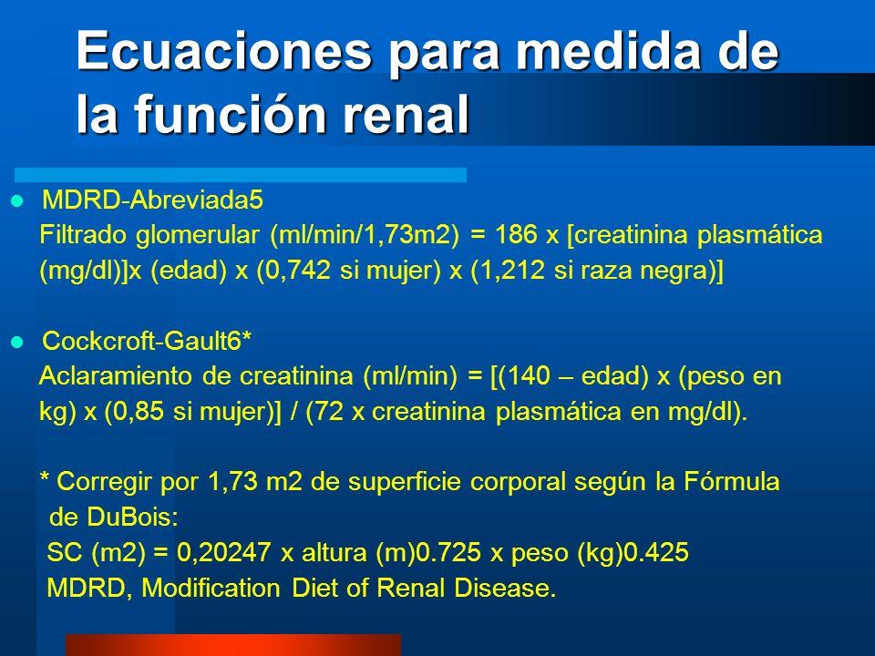 Ecuaciones para medida de la función renal