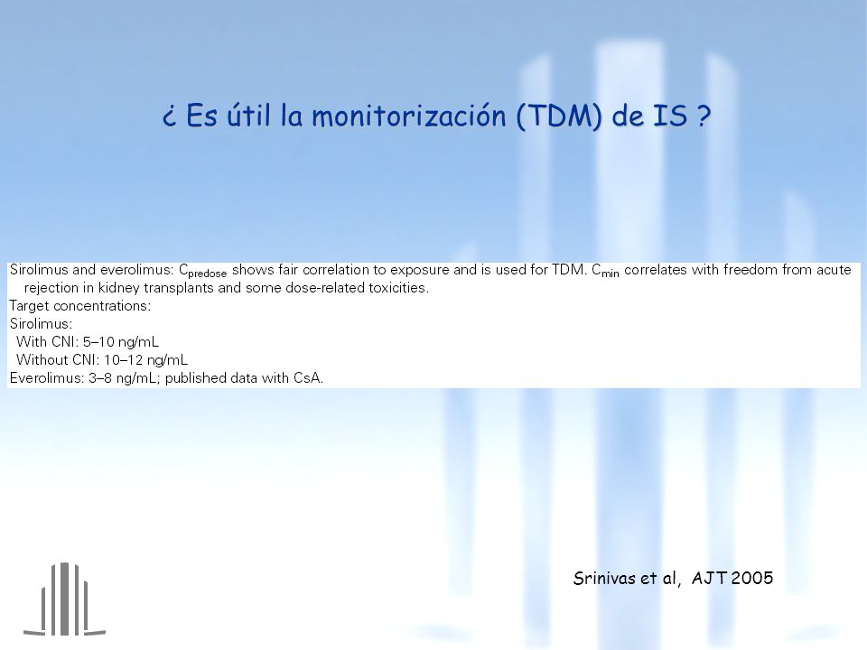¿ Es útil la monitorización (TDM) de IS