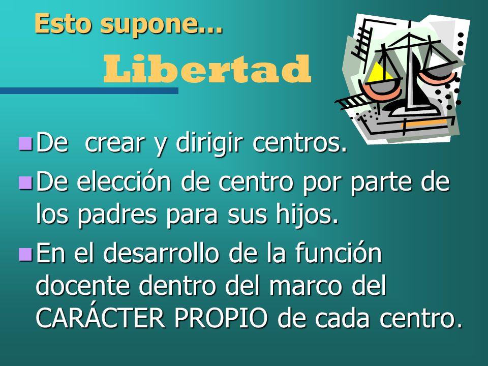 Libertad Esto supone... De crear y dirigir centros.