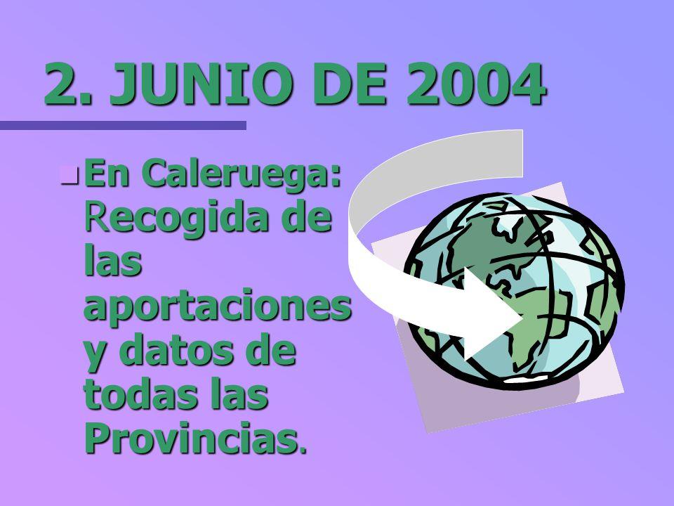 2. JUNIO DE 2004 En Caleruega: Recogida de las aportaciones y datos de todas las Provincias.