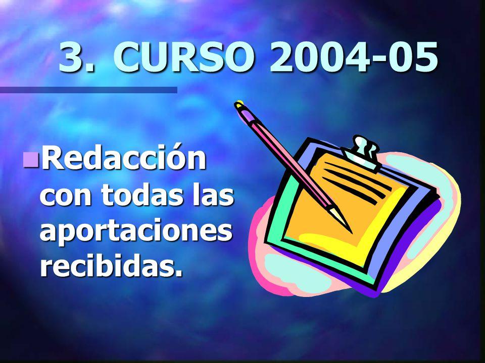 3. CURSO 2004-05 Redacción con todas las aportaciones recibidas.