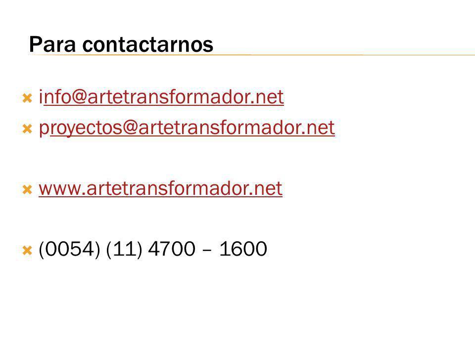Para contactarnos info@artetransformador.net