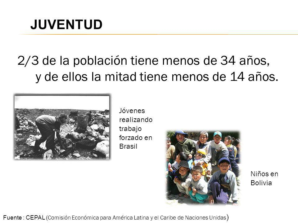 JUVENTUD2/3 de la población tiene menos de 34 años, y de ellos la mitad tiene menos de 14 años. Jóvenes realizando trabajo forzado en Brasil.