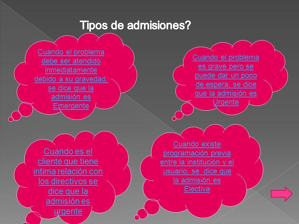 Tipos de admisiones Cuando el problema debe ser atendido inmediatamente debido a su gravedad, se dice que la admisión es Emergente.