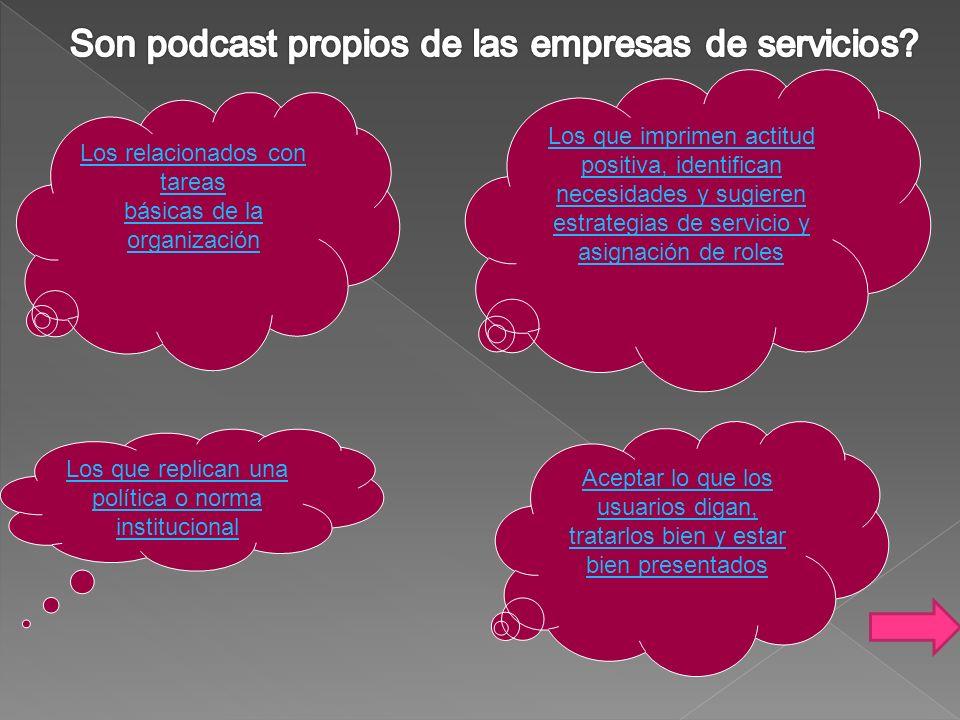 Son podcast propios de las empresas de servicios