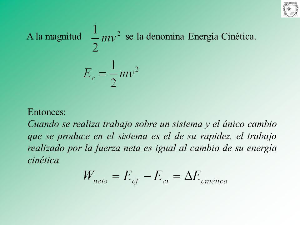 A la magnitud se la denomina Energía Cinética.