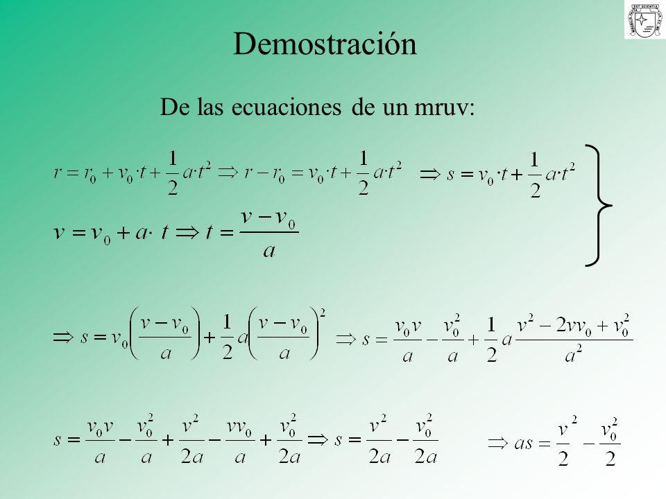 De las ecuaciones de un mruv: