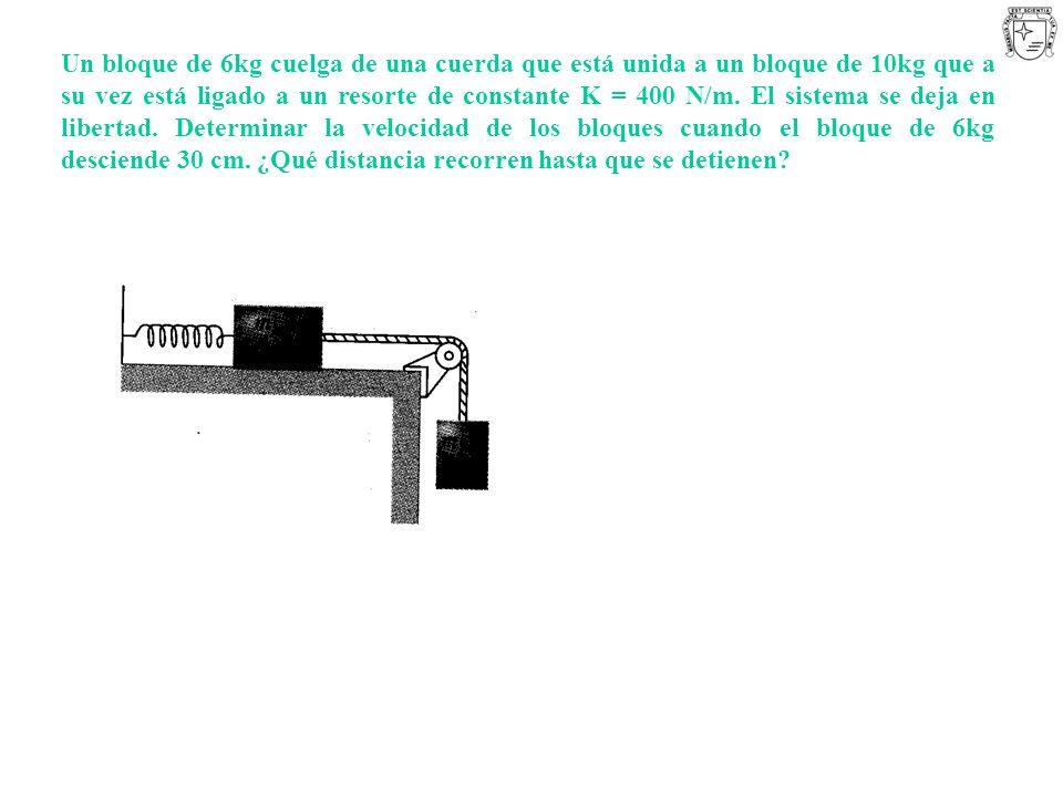 Un bloque de 6kg cuelga de una cuerda que está unida a un bloque de 10kg que a su vez está ligado a un resorte de constante K = 400 N/m.