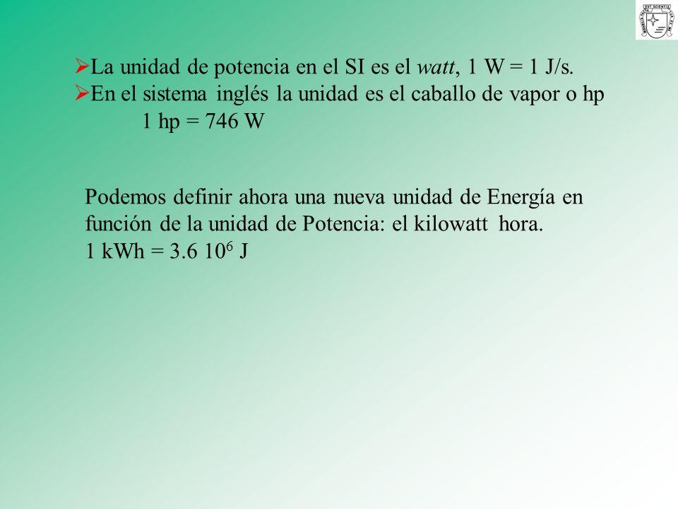La unidad de potencia en el SI es el watt, 1 W = 1 J/s.