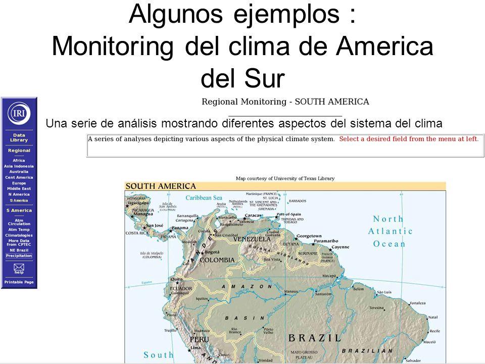 Algunos ejemplos : Monitoring del clima de America del Sur