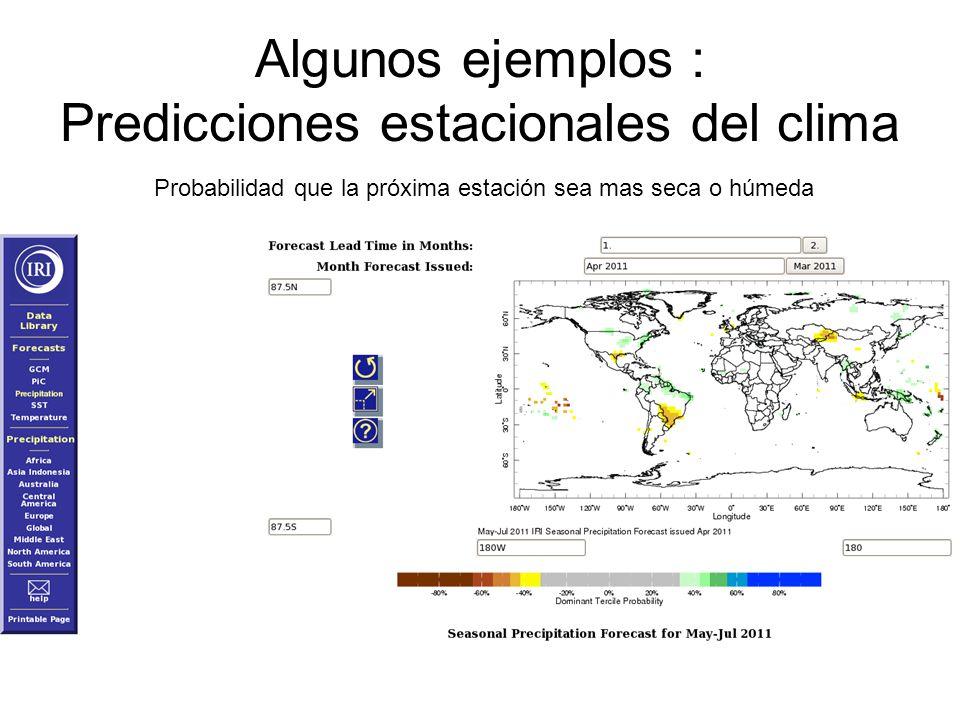 Algunos ejemplos : Predicciones estacionales del clima
