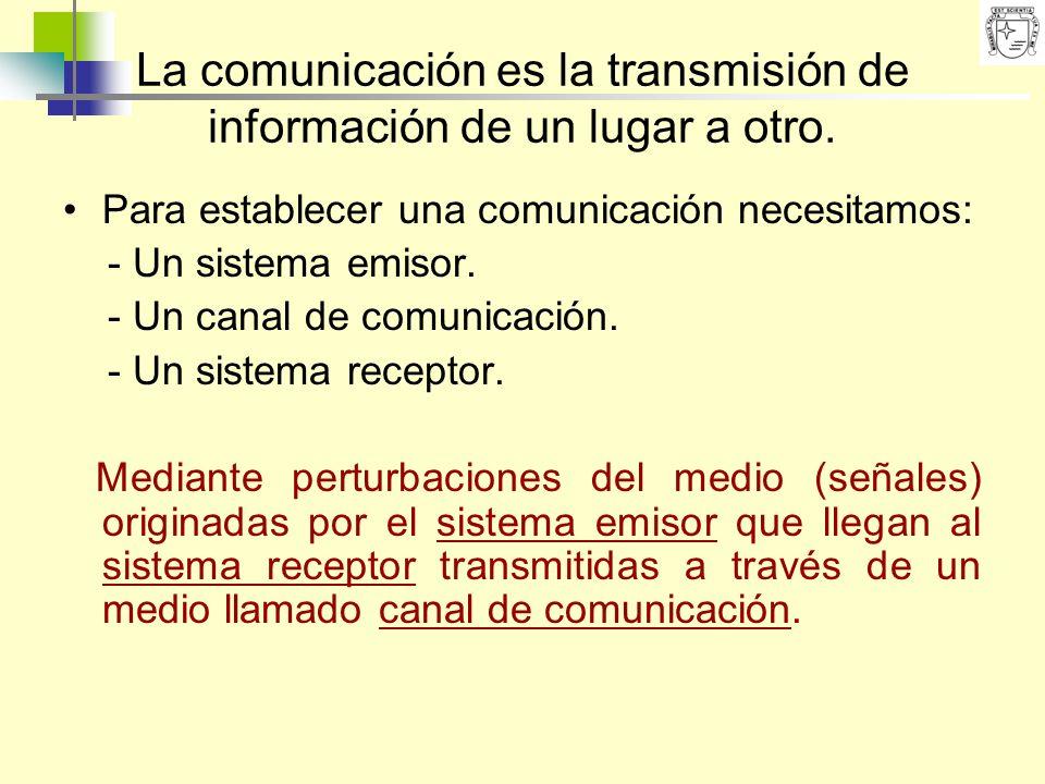 La comunicación es la transmisión de información de un lugar a otro.