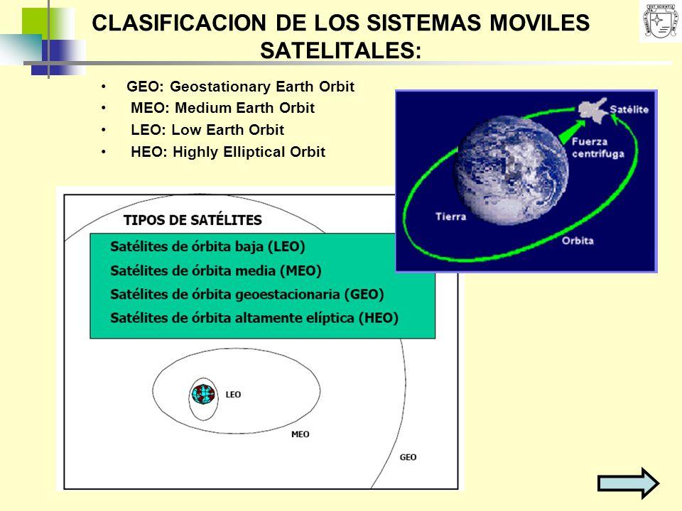 CLASIFICACION DE LOS SISTEMAS MOVILES SATELITALES: