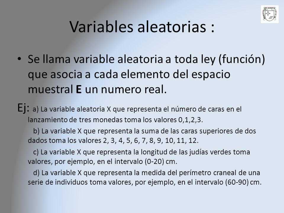 Variables aleatorias :