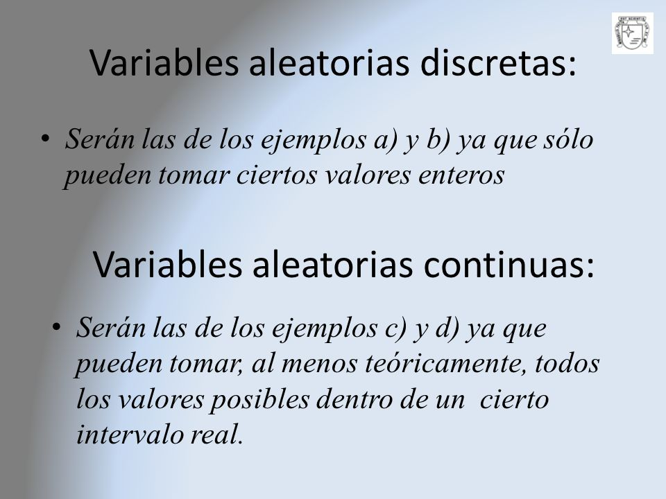 Variables aleatorias discretas: