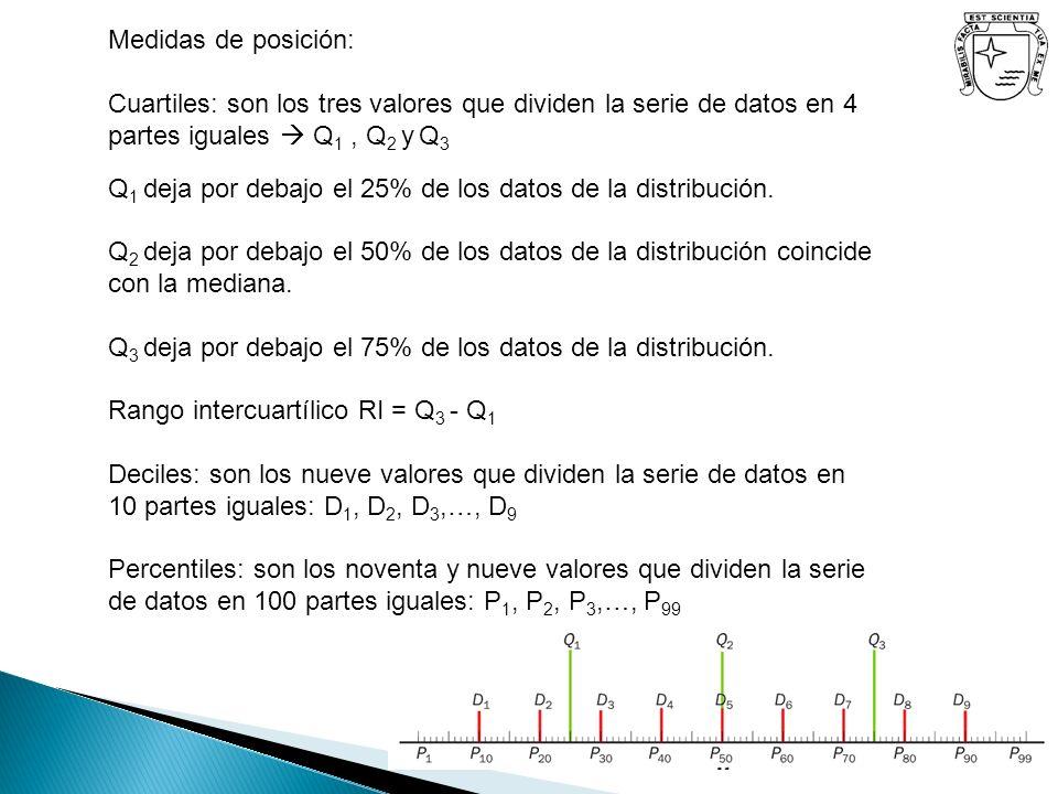 Medidas de posición: Cuartiles: son los tres valores que dividen la serie de datos en 4 partes iguales  Q1 , Q2 y Q3.