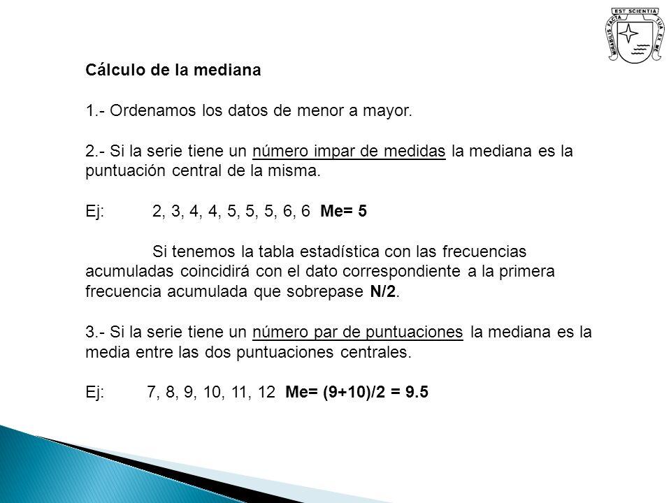 Cálculo de la mediana 1.- Ordenamos los datos de menor a mayor.
