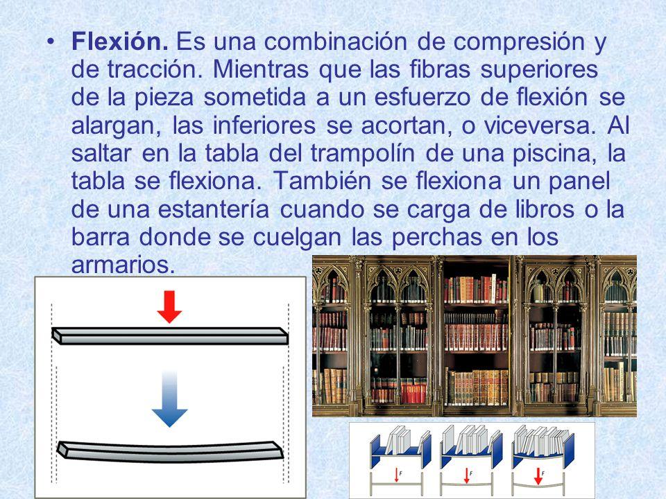 Flexión. Es una combinación de compresión y de tracción