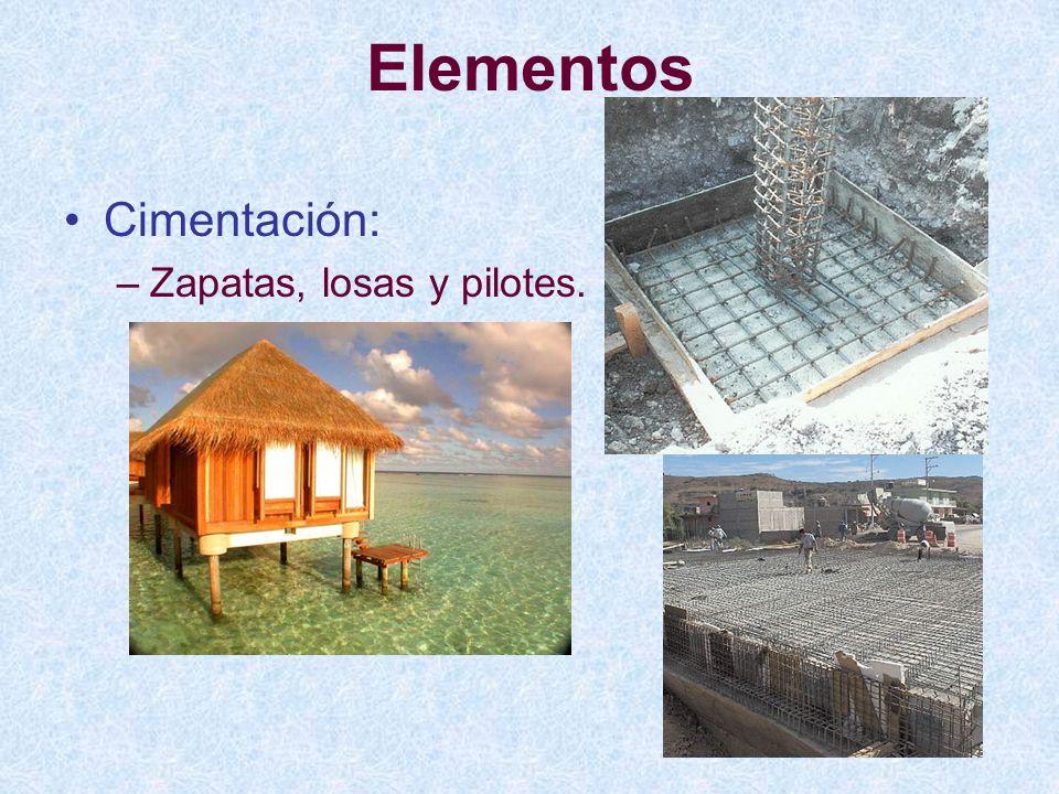 Elementos Cimentación: Zapatas, losas y pilotes.