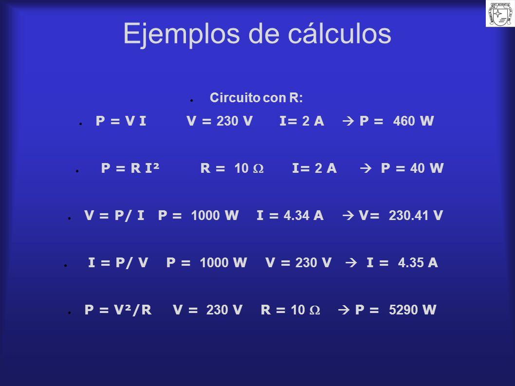 Ejemplos de cálculos Circuito con R: