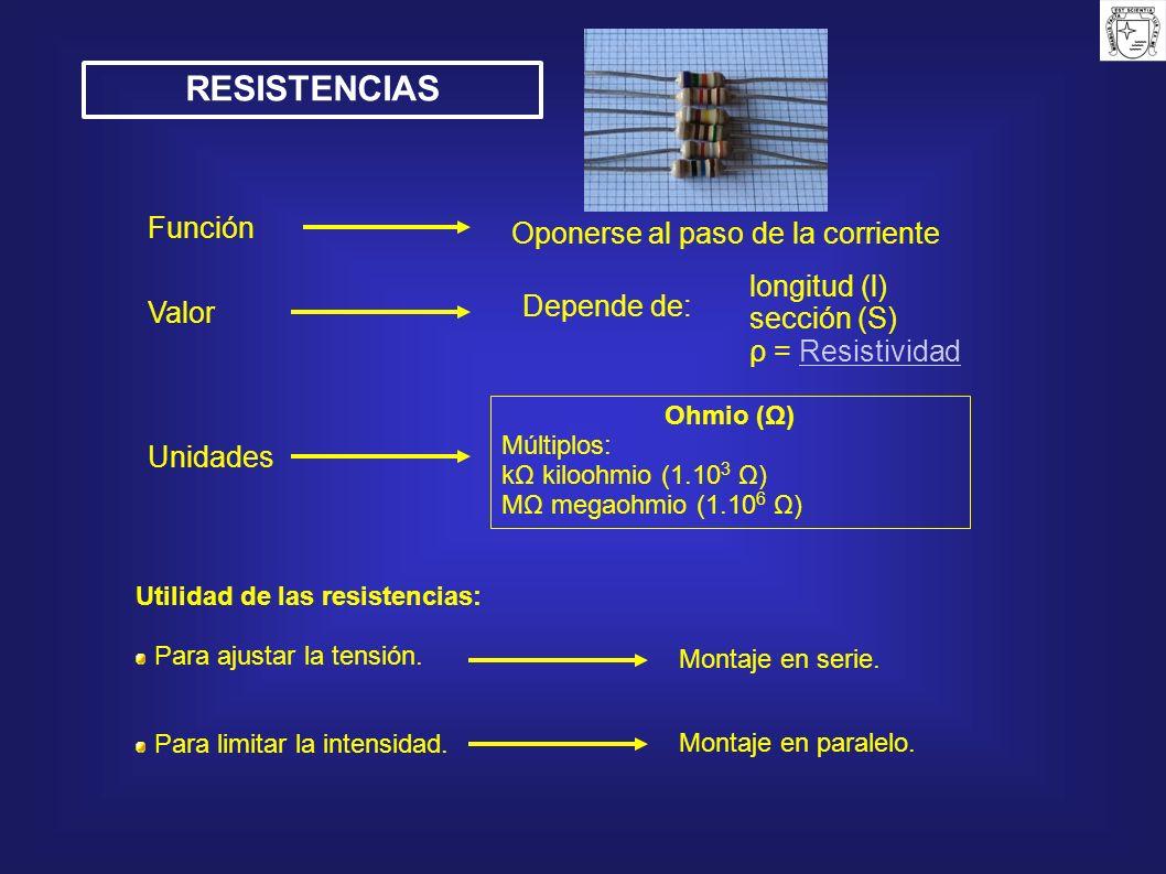 RESISTENCIAS Función Oponerse al paso de la corriente longitud (l)