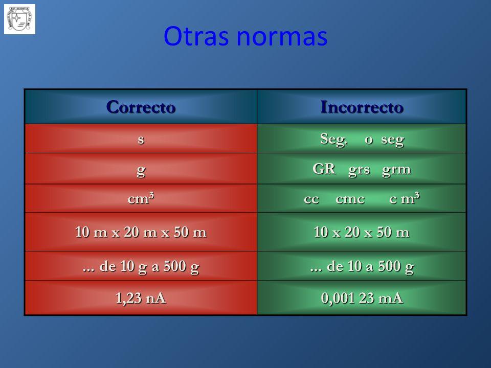 Otras normas Correcto Incorrecto s Seg. o seg g GR grs grm cm3