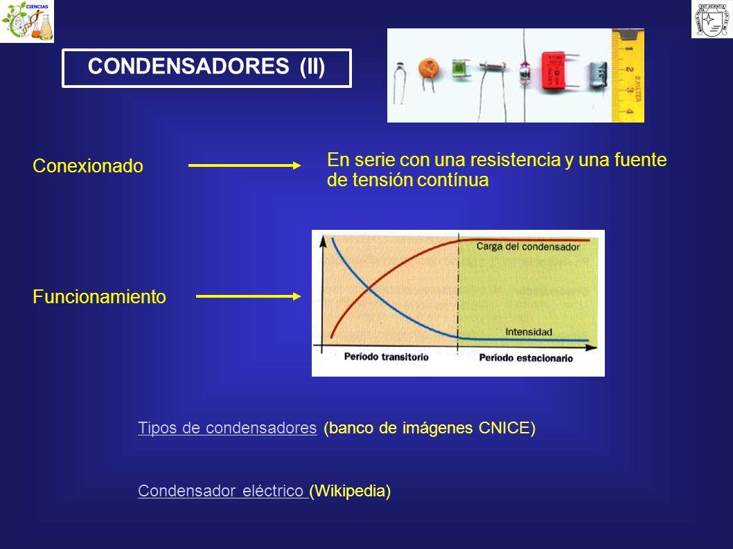 CONDENSADORES (II)En serie con una resistencia y una fuente de tensión contínua. Conexionado. Funcionamiento.