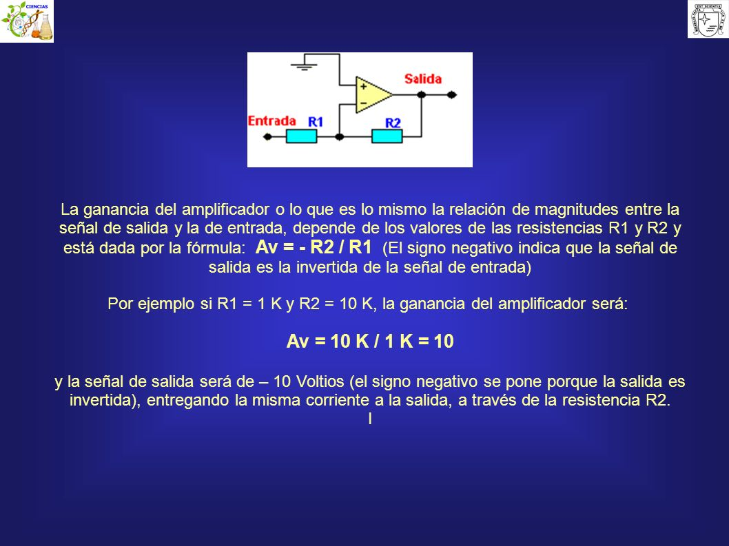 La ganancia del amplificador o lo que es lo mismo la relación de magnitudes entre la señal de salida y la de entrada, depende de los valores de las resistencias R1 y R2 y está dada por la fórmula: Av = - R2 / R1 (El signo negativo indica que la señal de salida es la invertida de la señal de entrada)