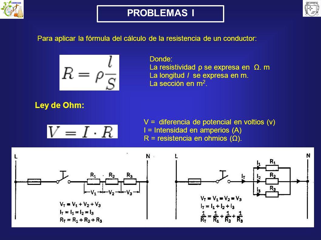 PROBLEMAS IPara aplicar la fórmula del cálculo de la resistencia de un conductor: Donde: La resistividad ρ se expresa en Ω. m.