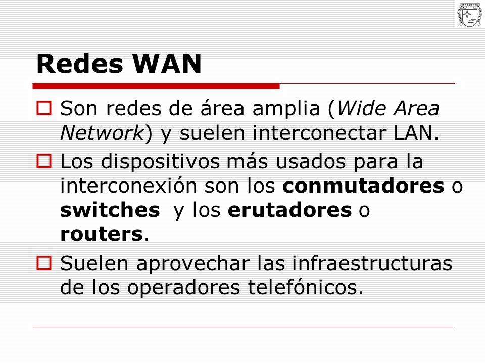 Redes WAN Son redes de área amplia (Wide Area Network) y suelen interconectar LAN.