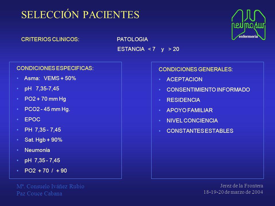 SELECCIÓN PACIENTES Mª. Consuelo Iváñez Rubio Paz Couce Cabana