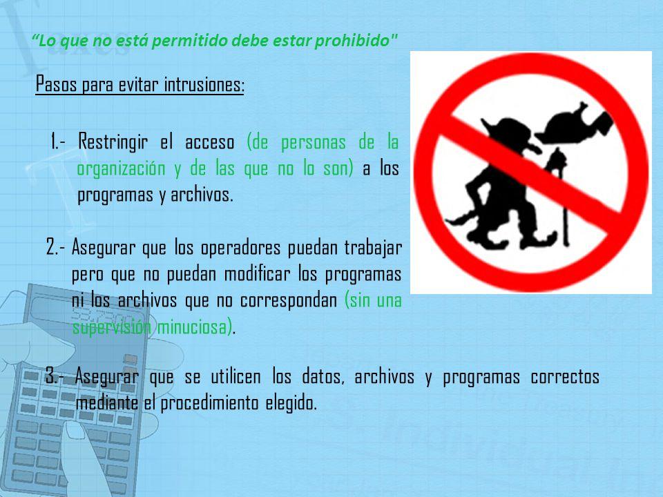 Pasos para evitar intrusiones: