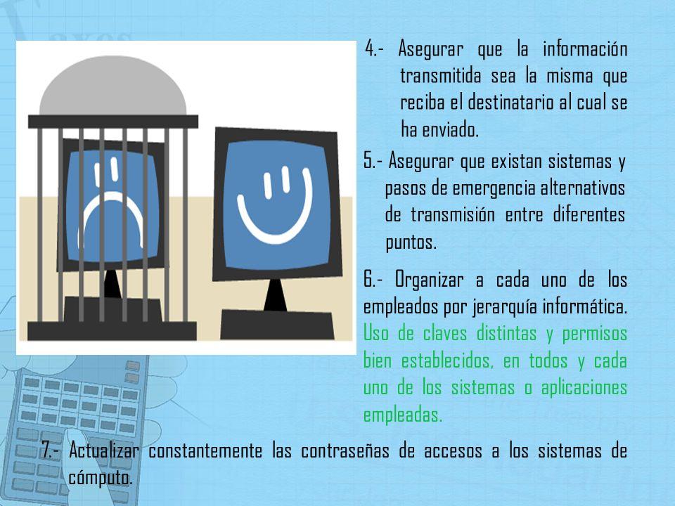 4.- Asegurar que la información transmitida sea la misma que reciba el destinatario al cual se ha enviado.