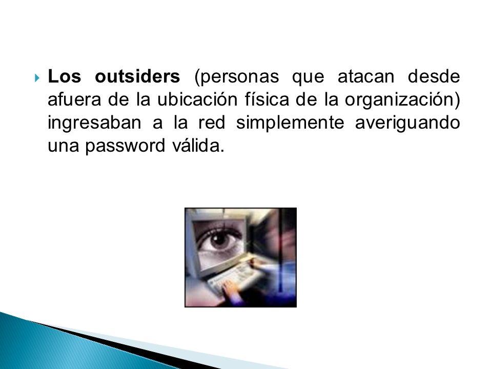 Los outsiders (personas que atacan desde afuera de la ubicación física de la organización) ingresaban a la red simplemente averiguando una password válida.